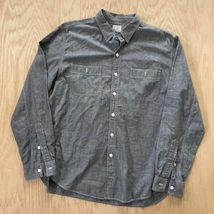 Mens J. Crew Workwear Chambray Denim Shirt Gray Large L